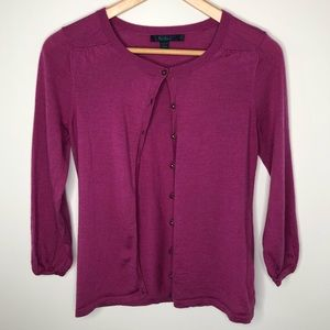 Boden Raspberry Purple 3/4 Sleeve Wool Cardigan 8